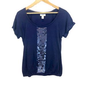 LOFT Navy Short Sleeve Sequin Shirt - MP